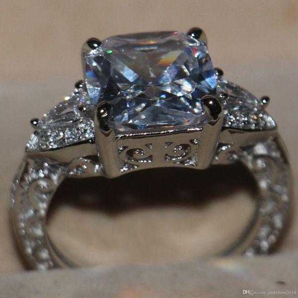 Victoria Wieck Luxury Jewelry Cushion Cut 925 Sterling Silver Three Stone White Topaz Simulated Diamond Wedding Women Band Ring Size 5-11