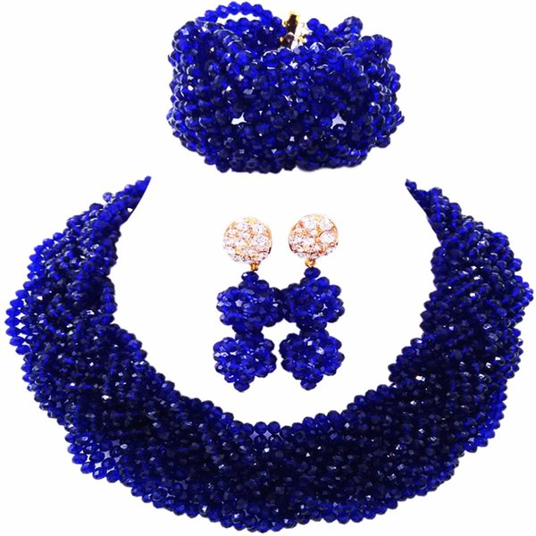 Beautiful Royal Blue Crystal Beaded Necklaces Costume Nigerian Wedding African Beads Jewelry Set for Women 12BZ15