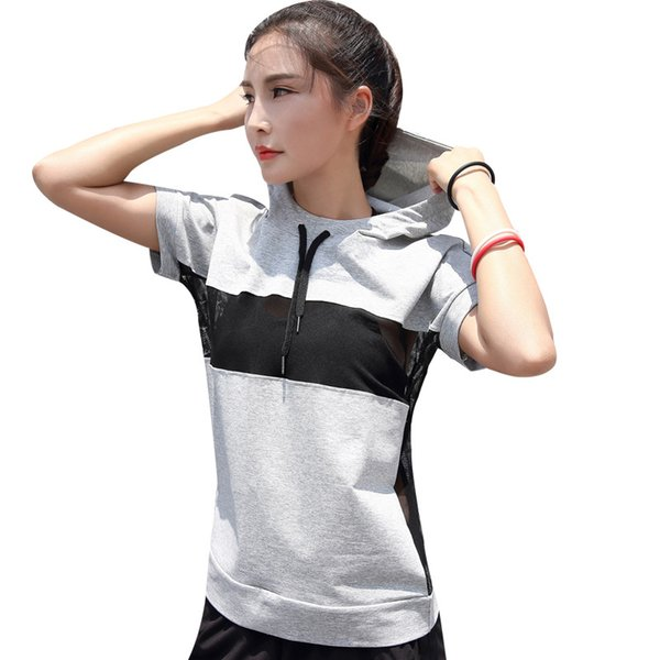 Women Hooded running T-Shirts Short Sleeve Sweatshirt Ladies Breathable sexy Mesh Yoga Shirt Tops Fitness Gym Sport Shirts