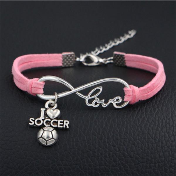 075d3e0759af Compre 2018 Classic Unisex Strand Infinity Love I Soccer Heart Bracelet  Bijoux Pink Leather Rope Bangle Pareja Amistad Joyería Regalo Del Día De ...
