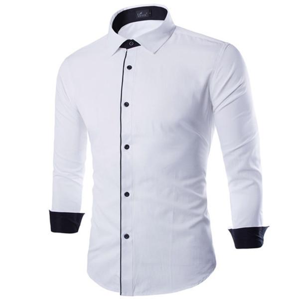 Мужская сплошной цвет бизнес хлопок рубашка / 2018 весна и осень мода новые мужские повседневная с длинным рукавом платье рубашка блузки