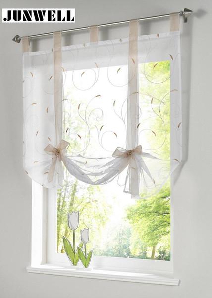 Großhandel Römischer Schatten Europäischen Stickerei Stil Binden Fenster  Vorhang Küche Vorhang Voile Schiere Registerkarte Oben Fenster Marke  Vorhänge ...