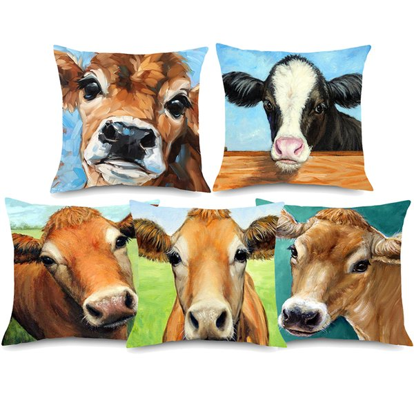 Watercolor Painting Farm Cattle Cushion Cover Beige Linen Animal Happy Family Home Decorative Pillows Cover Bedroom Sofa Decor