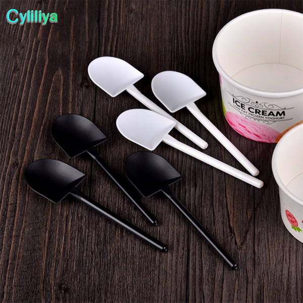 best selling 5000pcs Disposable Potted Pure Black White Ice Cream Scoop Shovel Small Potted Flower Pot Spoon Free Shipping