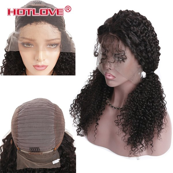 Hotlove Lace Front Human Hair Wigs For Women Brazilian Afro Kinky Curly Wig 10-24inch Black Remy Hair Pre Plucked Bleached Knots
