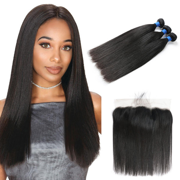 Beauty On Line Indian Straight Human Hair 3Bundles With Lace Frontal Virgin Hair Lace Frontal With Weave Bundles Wholesale Cheap Bulk Silk