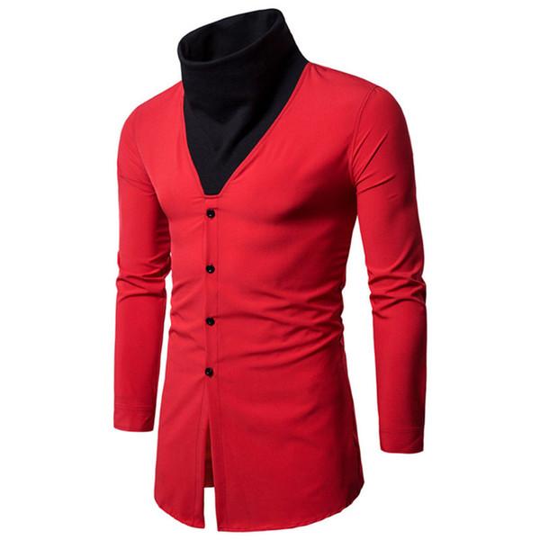 Novelty Patchwork Stand Shirt Male Hip Hop Collar Blouse Long Sleeve Spring Warm Tops Slim Boy Outwear Korean Style 2XL Blusa