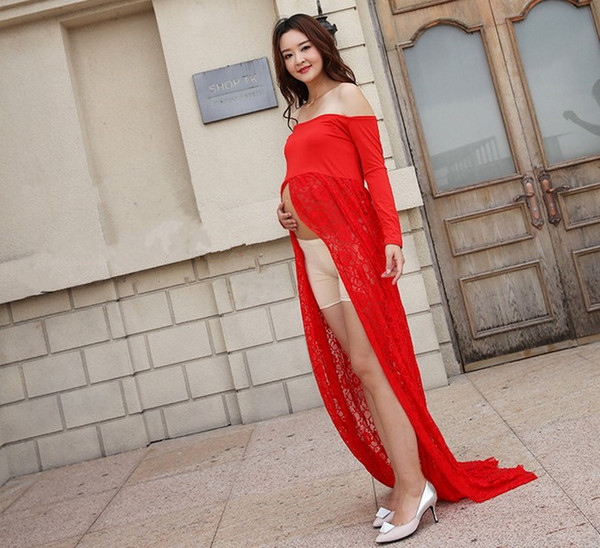 Pregnant Women Red Dress Maternity Photography Props Lace Pregnancy Clothes Maternity Dresses For Pregnant Photo Shoot Cloth