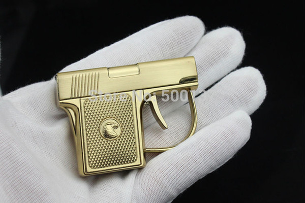 top popular New Arrival Free Shipping Mini Novelty Metal Pistol Windproof Torch Cigarette Cigar Gun Lighter With Box 2021