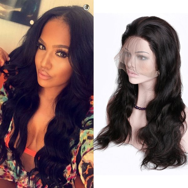 Pelucas llenas del pelo humano del frente del cordón 360 para las mujeres negras Desplumadas la onda recta del cuerpo del 150% de la densidad Peluca llena brasileña Reina de la miel Remy