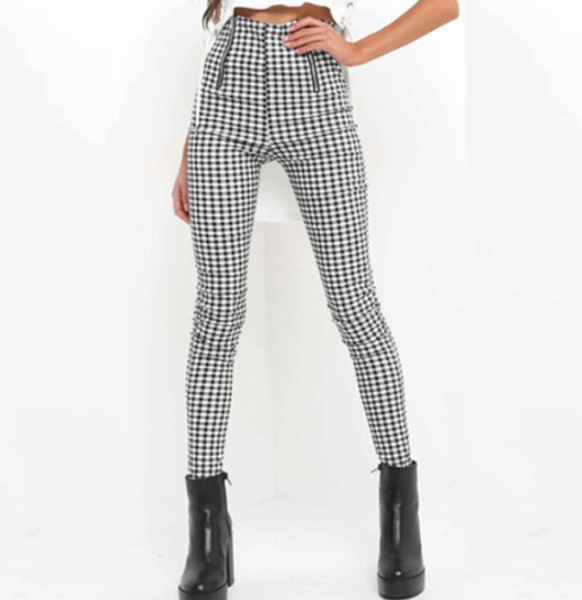 Womens High Waisted Pants Spring Autumn Elegant Ladie Trousers For Women Grey Plaid Stretchy Pencil Pants