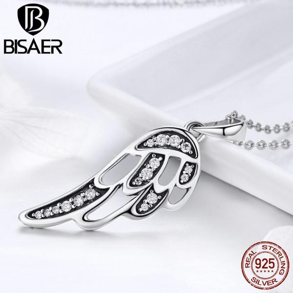 BISAER Genuine 925 Sterling Silver CZ Openwork asas de fadas pingente de colar para Femme casamento S925 presente de jóias de prata HSN225