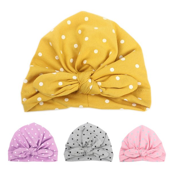 Cheap Hats & Caps Sweet Dot Baby Girl Hat with Bow Candy Color Baby Turban Cap for Girls Elastic Infant Accessories