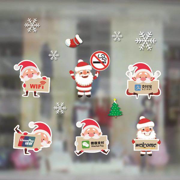 Christmas decorations, shops, Artistic conception,cartoon glass stickers, PVC, electrostatic paper, walls, window stickers, holiday supplies