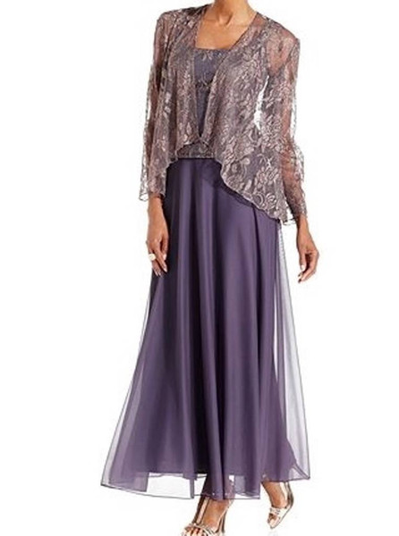 Ankle Length Lavender Mother of the Bride Dress with Jacket Lace Chiffon Square Neck Elegant Wedding Guest Dress Special Occasion