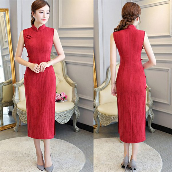 4e3b39570 Retro Comfortable Summer Chinese Cheongsam Cotton Linen Long Style QiPao  2018 Online Sale Formal Party Gowns