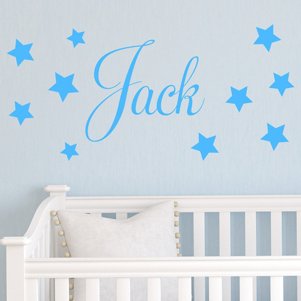 wall decals home decorations adesivo de paredes removable diy wall stickers English words Personalised Stars Child Name Jack
