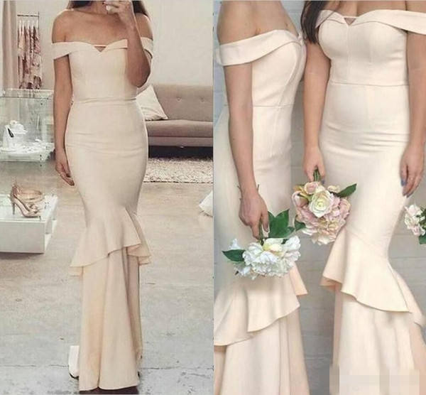 Cream New Long Mermaid Bridesmaid Dresses Simple Off Shoulder Cheap Ruffles Backless Wedding Guest Gowns for Evening Party Gowns