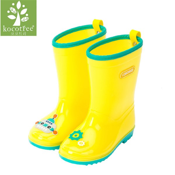 Kocotree 2017 Kid Brand Waterproof Shoe Baby Girl Children PVC Pink Rain Boot Toddler Boy Wellington Yellow Booties