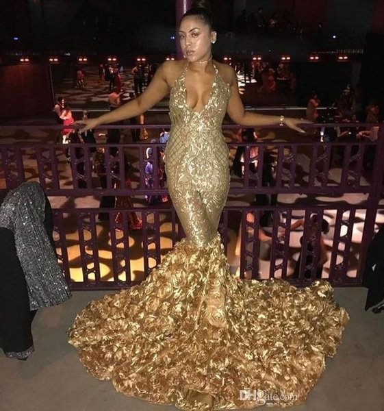 2018 Gold Sexy Halter V Neck Mermaid Prom Dresses With Rose Train Black Girls Evening Gowns African Vestidos Party Dresses BA8147