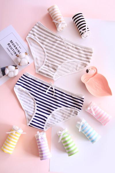 Stripe underwear Underwear Women Lace Edge Cotton Plus Size Big Ladie Panties Briefs for Women 520