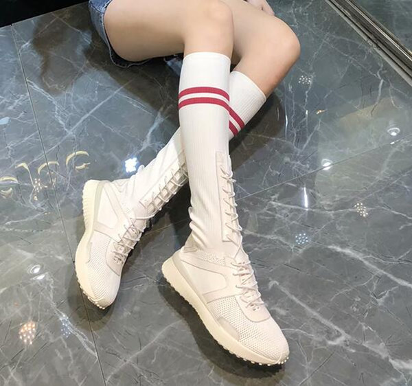 Whole Hot Design Sock Trainer Shoes Socks Trainer Boots Knitting Womens Girls High Top Sports Casual Sneakers