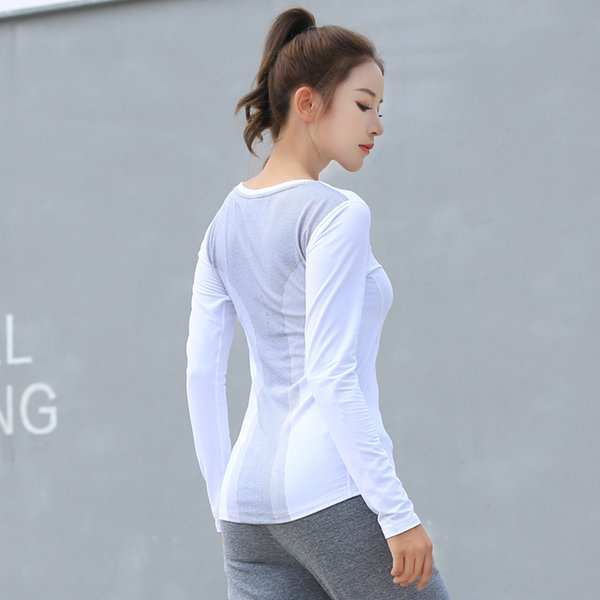 Yoga Long Shirts Tight Long Sleeves Jersey Gym T- Shirts Top High Elastic Training Running Exercise T-Shirt Breathable Fitness