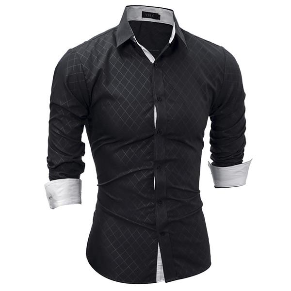 Brand 2018 Fashion Male Shirt Long-Sleeves Tops Classic Lined With Dark Lines Mens Dress Shirts Slim Men Shirt XXL
