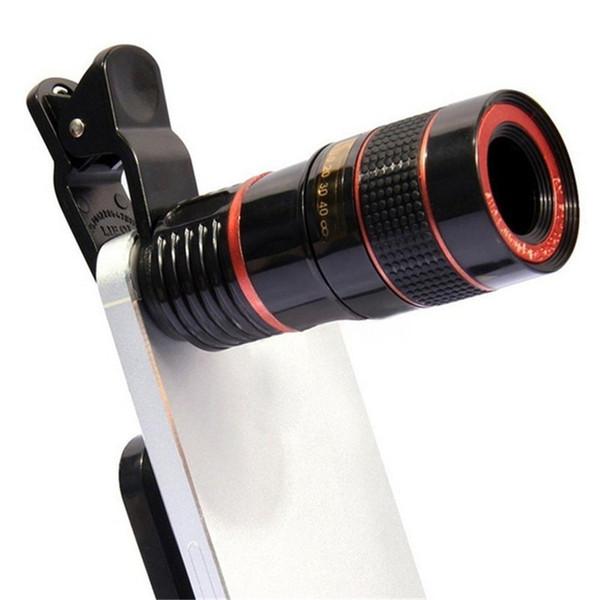 Telescopio ottico universale 8x Zoom Telescopio portatile Telefonico portatile Teleobiettivo con clip per iPhone 7 6s Plus Samsung Galaxy S7 S6