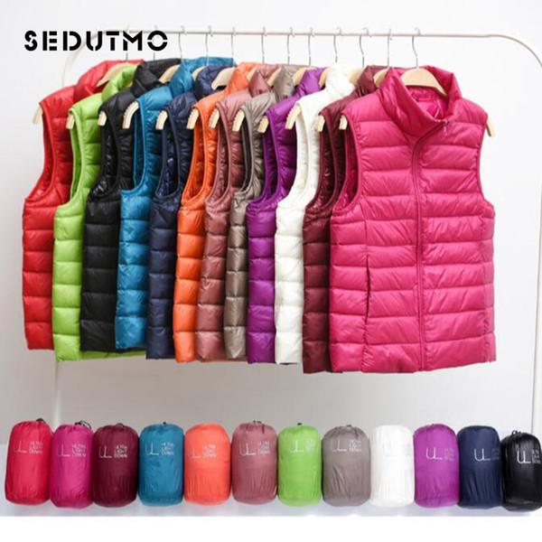 best selling SEDUTMO Winter Ultra Light Vest Duck Down Doat Short Womens Down Jackets Plus Size 3XL Puffer Jacket Waistcoat ED035 S18101306