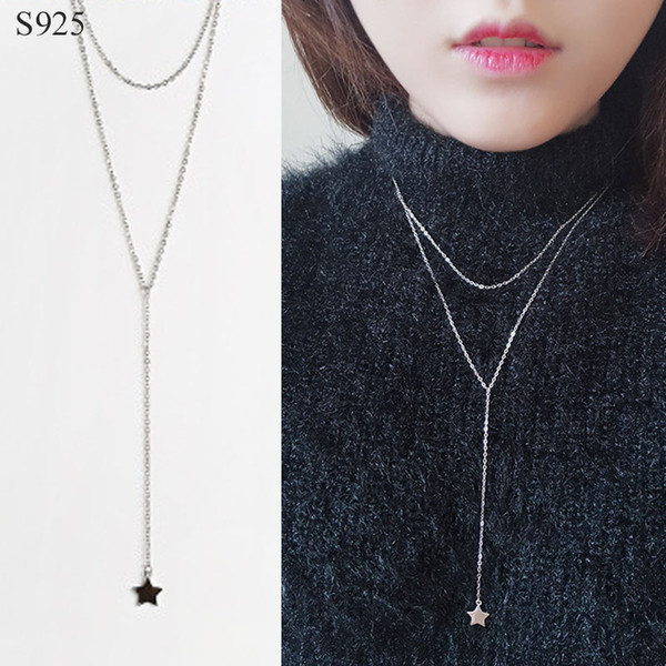 100% Genuine Real Pure Solid 925 Sterling Silver Pendant Long Necklace for Women Jewelry Star Bijoux Female Chain Necklaces Gift