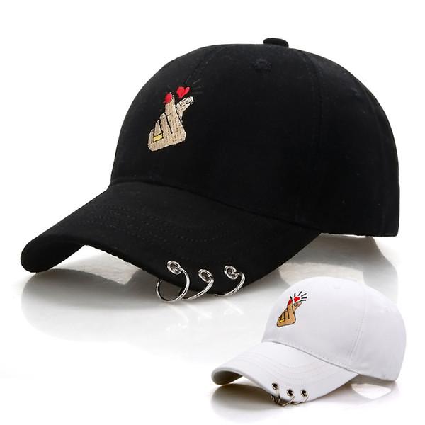 Berretto da baseball per berretto da baseball regolabile con anello regolabile in ferro da uomo adulto nero BTS Cappellino con visiera a caschetto con cappellino aderente montato su cappelli casual da papà