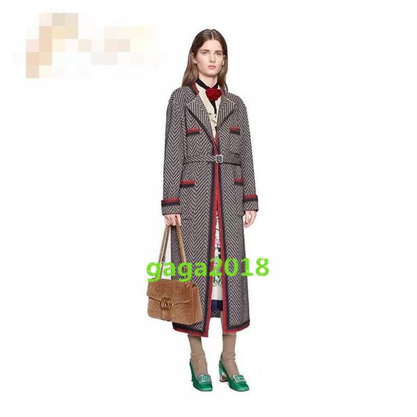 Lã da menina das mulheres longo Listrado casaco de tweed casaco com listras longo quente terno jaqueta high-end das mulheres vogue Roupão de banho pijama Trench coat
