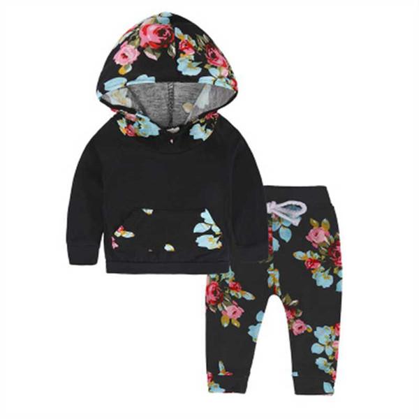 Floral Coats Hoodies Sweatshirt Pantolon 2 adet. Kız Giyim Kostümleri Set Yenidoğan Bebekler Toddlers Kızlar Giyim Seti