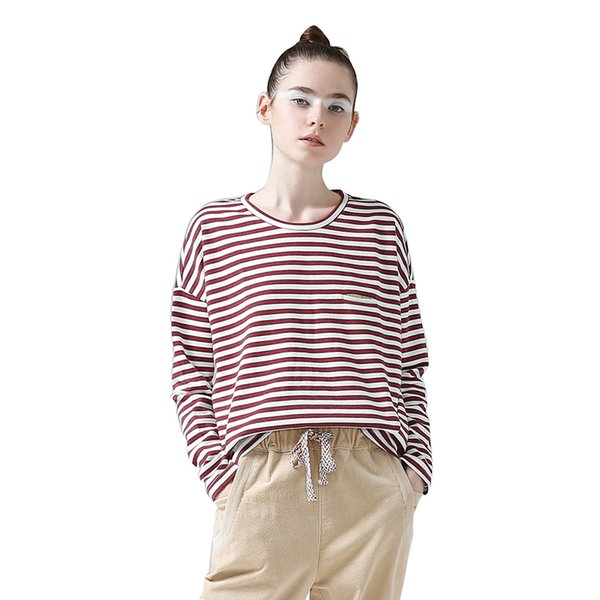 Women T -Shirts Batwing Long Sleeve Striped Pattern O -Neck Casual T Shirt Female Tees Cotton Elegant Ladies Tees Tops