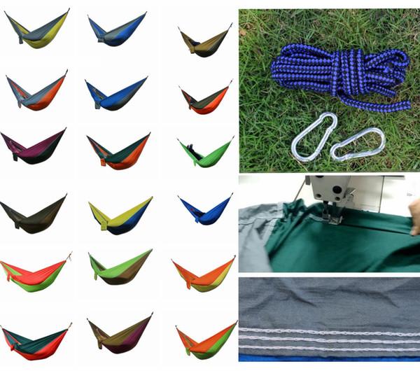 36 Renkler Taşınabilir Naylon Kumaş Çift Kişi Paraşüt Hamak Bahçe Açık Kamp Güvenli Asılı Yatak Çocuklar Uyku Salıncak 275X140 cm DDA770