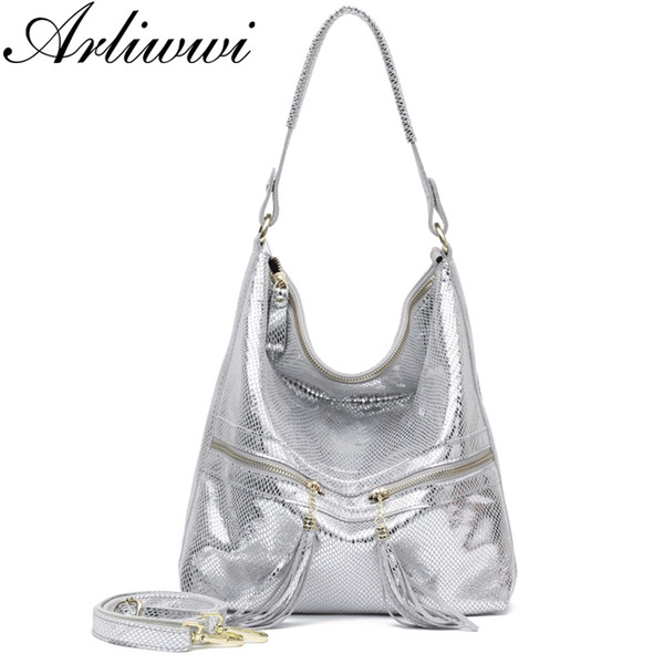 Arliwiwi Marke Shiny Schlange Muster Geprägte 100% Echtem Leder Weibliche Schulter Handtaschen Große Kapazität Frauen Taschen Neue