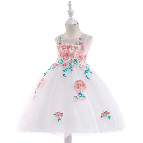 2019 Cute Flower Girl Dresses Princess Ivory White Light Pink Puffy Tulle Abiti formali per matrimoni Lunghezza caviglia Abbigliamento per ragazze