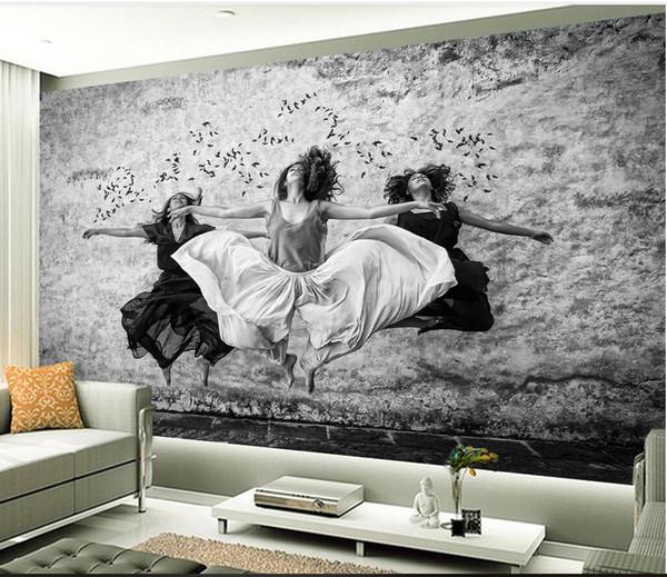 3d Wallpaper Custom Photo Mural European Aesthetic Black And White Ball Dancer Dance Classroom Living Room Murals Wallpaper For Walls 3 D Hd High