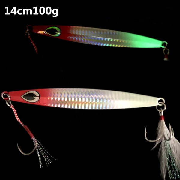 Ocean Fishing Jigbait Lure Metal Jigs 100g 120g Seawater Trolling Jigging Hook Glow in Night CATCH