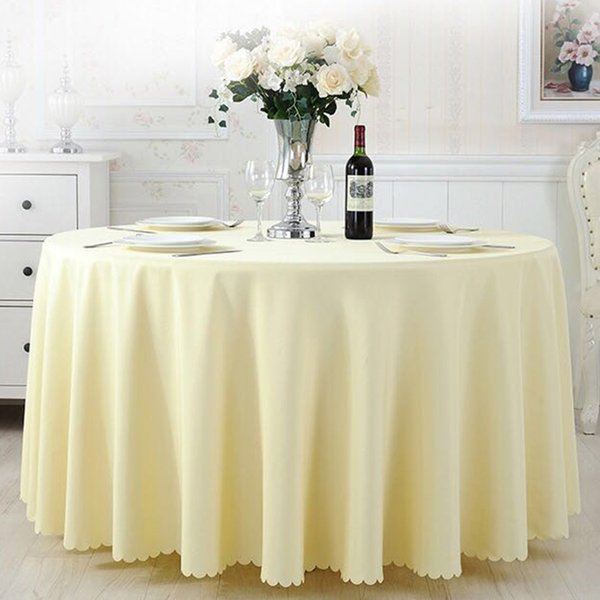 """Wholesale 120"""" Round Plain Polyester Table Cloth Table Cover for Banquet Wedding Party Decor Many Colors"""