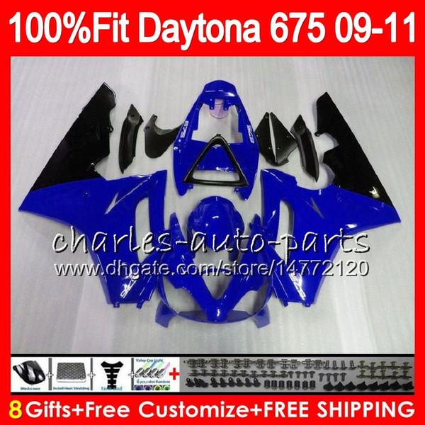 Injection Blue black For Triumph Bodywork Daytona 675 2009 2010 2011 2012 107HM.92 Daytona 675 09 10 11 12 Daytona-675 Daytona675 Fairing