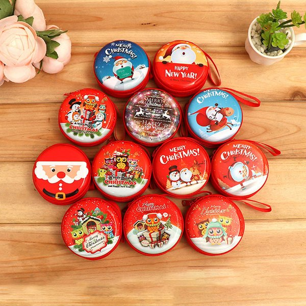 Round Christmas Coin Purse Tinplate Mini Key Holder Change Purse Wallet Bag Headphone Christmas Gift Decoration Xams Tree Ornament 871
