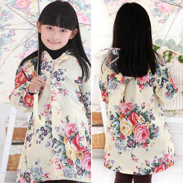 South Korea lovely big flower child raincoat adult fashion girls raincoats children raincoats poncho rain coat baby