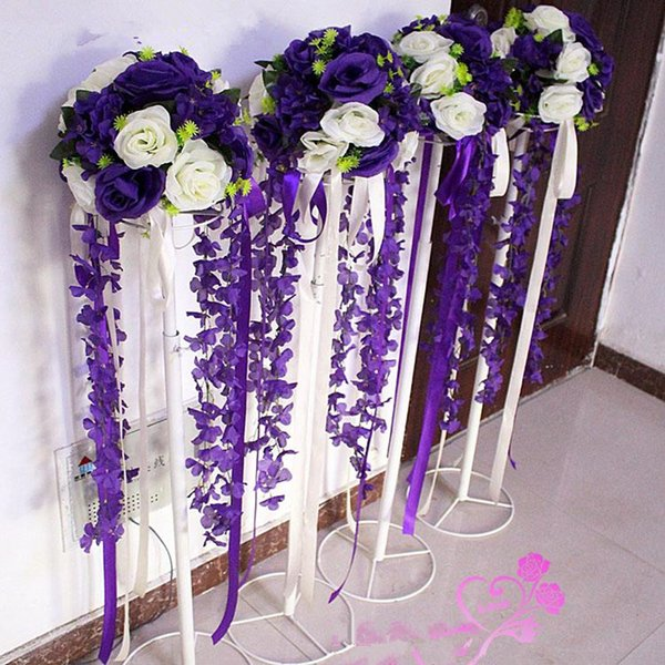 12 inch Artificial Rose Hydrangea Kissing Ball Wedding Road Cited Flower Roman Column Lead Bouquet with stand T station Decoration Supplies