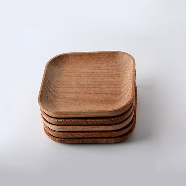 Square Wooden Plates Beech Wood Cake Dishes Dessert Serving Tray Sushi Plate Dinnerware Tableware ZA6159