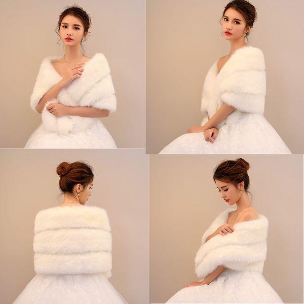 Winter Weiß Fellimitat Braut Wrap Schal Mantel Weiche Warmer Shrug Cape Wrap Jacke Zubehör Für Hochzeitsfest