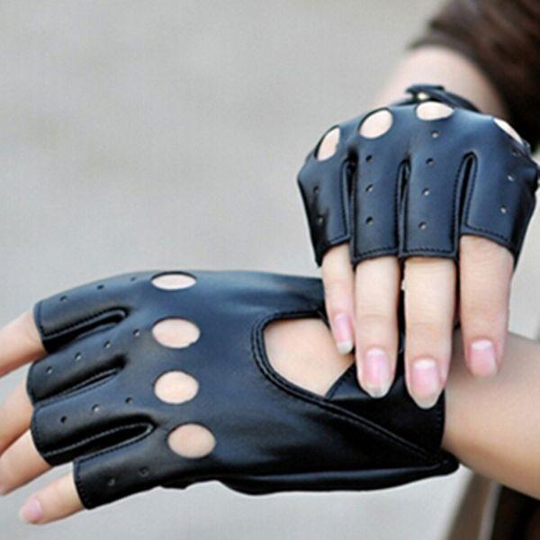 1 Paar Punk Halbe Fingerhandschuhe Kunstleder Handschuh Für Frauen Männer