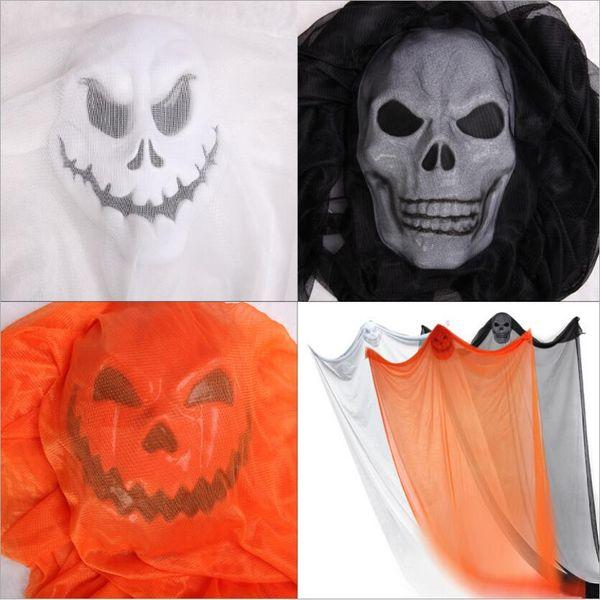 24pcs 3colors Halloween Hanging curtains Ghost Haunted House Skull Skeleton Escape Horror Door KTV Bar outdoor Decor Props