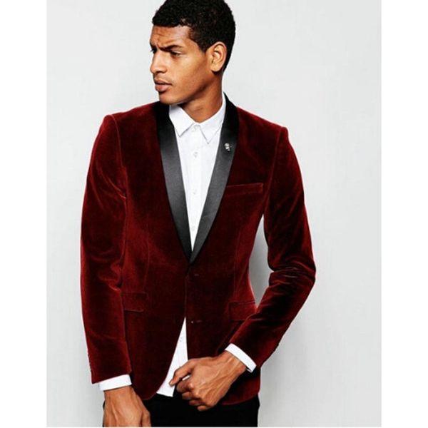Burgundy Velvet Mens Suits With Black Label Slim Fit Wedding Suits For Men Custom Made Groomsman Tuxedos Suit ( Jacket+Pant)